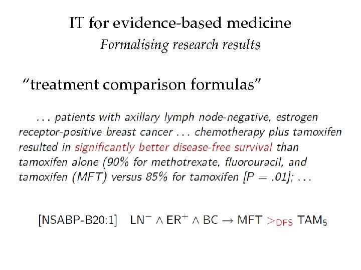 """IT for evidence-based medicine Formalising research results """"treatment comparison formulas"""""""