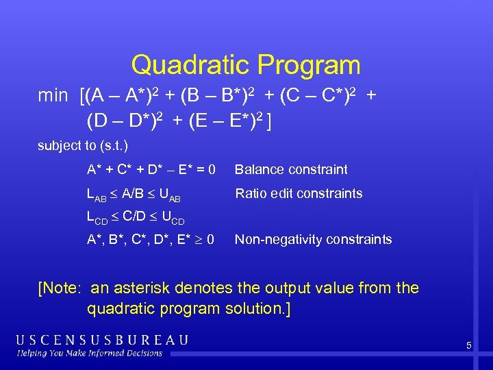 Quadratic Program min [(A – A*)2 + (B – B*)2 + (C – C*)2