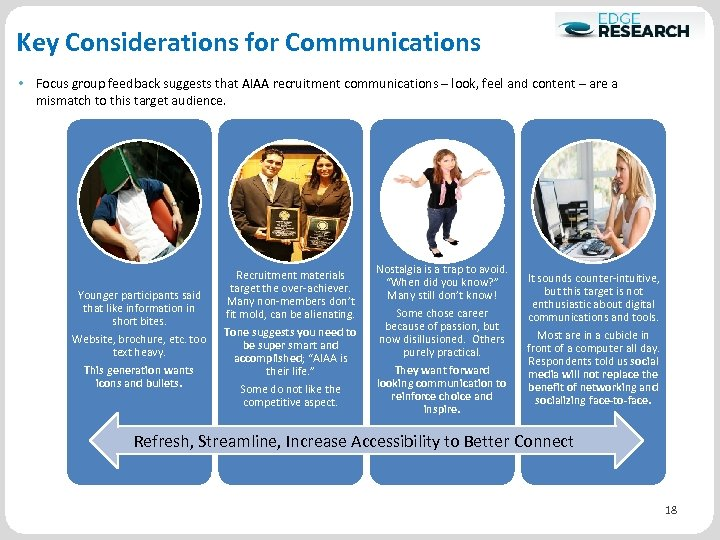 Key Considerations for Communications • Focus group feedback suggests that AIAA recruitment communications –