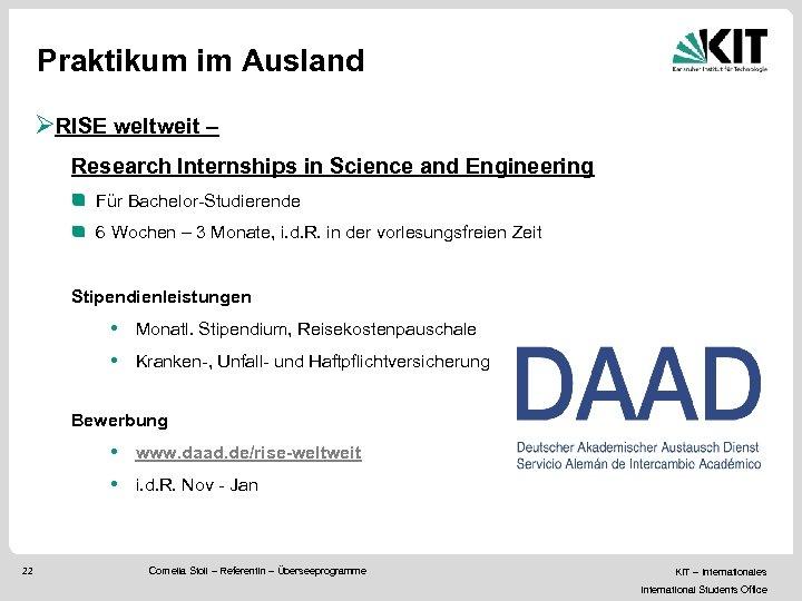 Praktikum im Ausland ØRISE weltweit – Research Internships in Science and Engineering Für Bachelor-Studierende