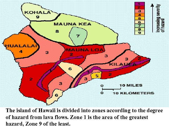 The island of Hawaii is divided into zones according to the degree of hazard