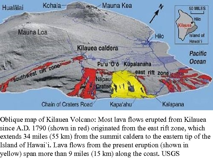 Oblique map of Kilauea Volcano: Most lava flows erupted from Kilauea since A. D.