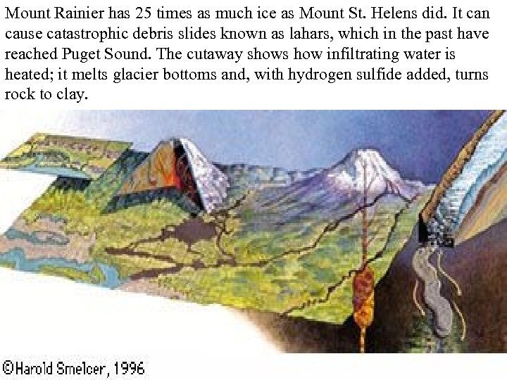 Mount Rainier has 25 times as much ice as Mount St. Helens did. It