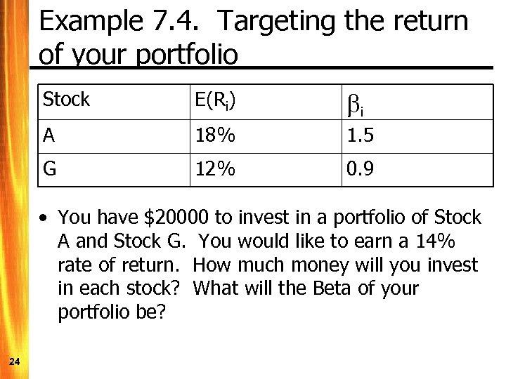 Example 7. 4. Targeting the return of your portfolio Stock E(Ri) bi A 18%