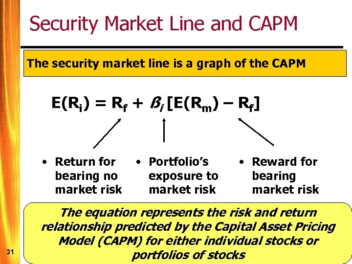 Security Market Line and CAPM The security market line is a graph of the