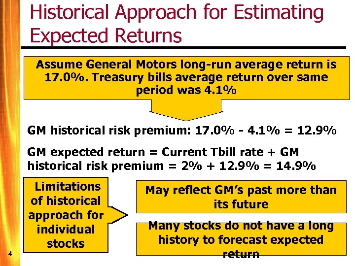 Historical Approach for Estimating Expected Returns Assume General Motors long-run average return is 17.