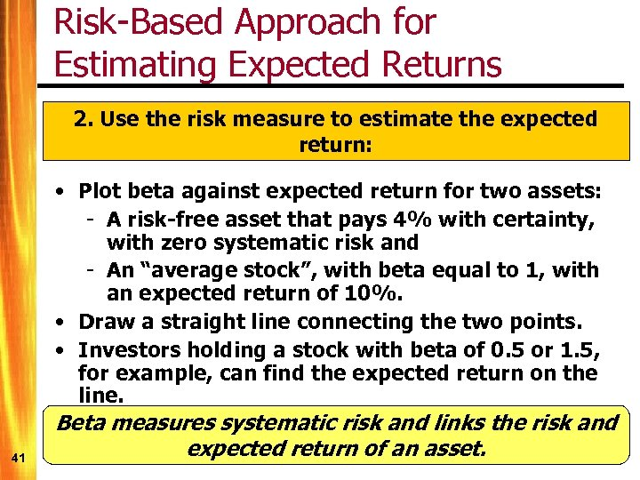 Risk-Based Approach for Estimating Expected Returns 2. Use the risk measure to estimate the
