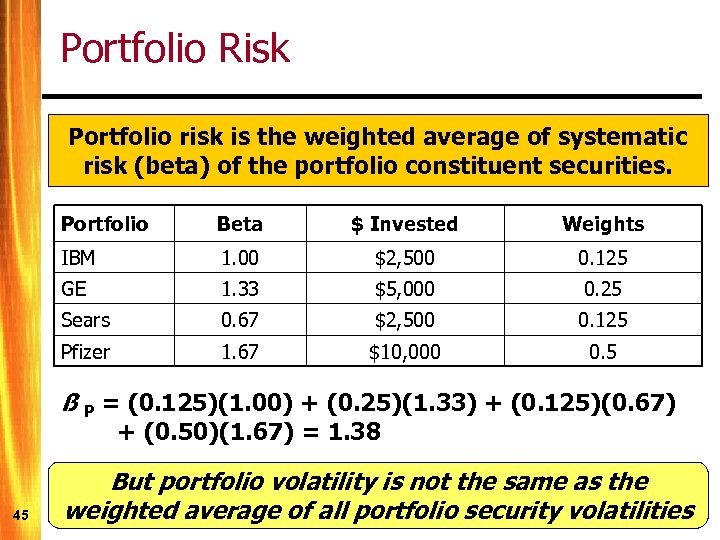 Portfolio Risk Portfolio risk is the weighted average of systematic risk (beta) of the