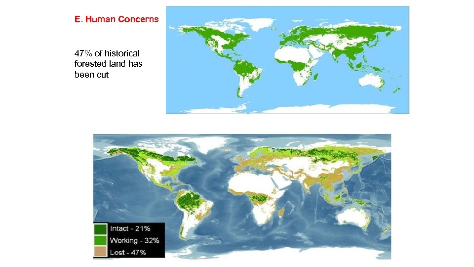 E. Human Concerns 47% of historical forested land has been cut