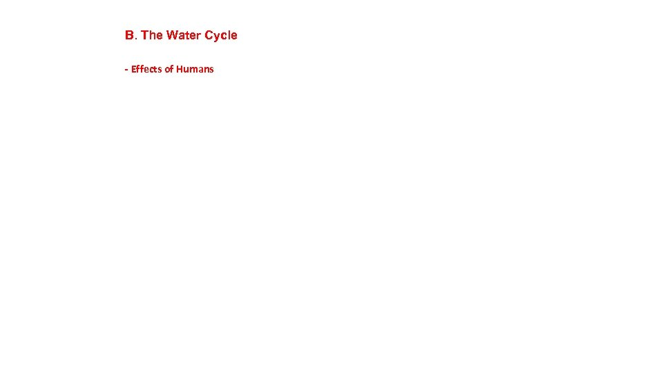 B. The Water Cycle - Effects of Humans