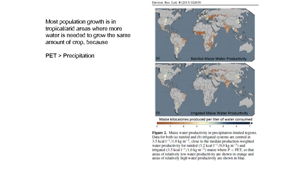 Most population growth is in tropical/arid areas where more water is needed to grow