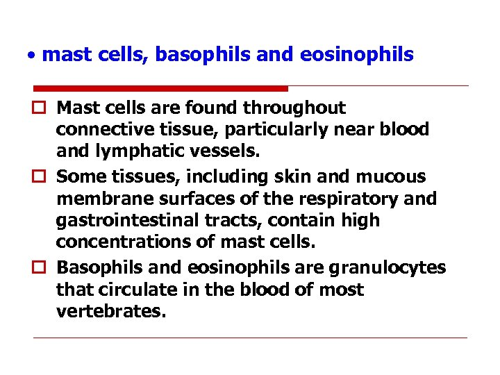 • mast cells, basophils and eosinophils o Mast cells are found throughout connective