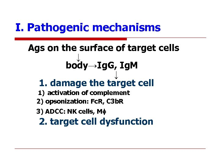 I. Pathogenic mechanisms Ags on the surface of target cells ↓ body→Ig. G, Ig.