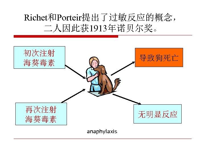 Richet和Porteir提出了过敏反应的概念, 二人因此获 1913年诺贝尔奖。 初次注射 海葵毒素 导致狗死亡 再次注射 海葵毒素 无明显反应 anaphylaxis