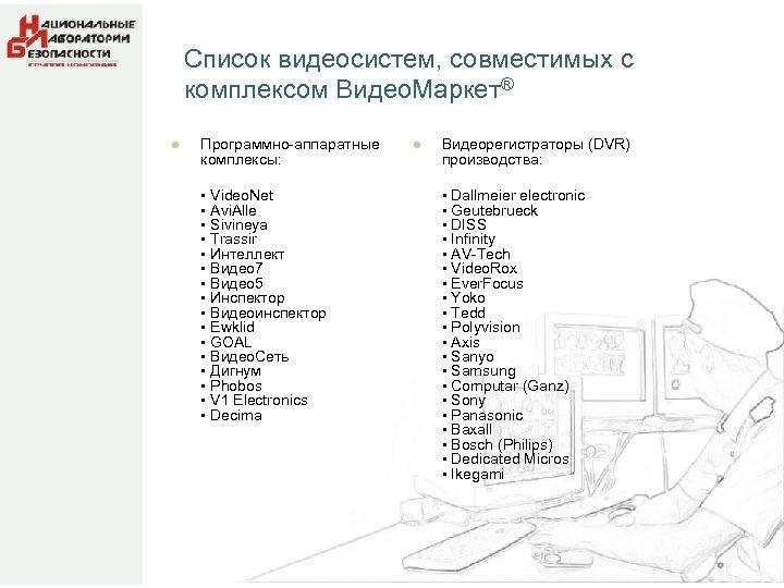 Список видеосистем, совместимых с комплексом Видео. Маркет® l Программно-аппаратные комплексы: • Video. Net •