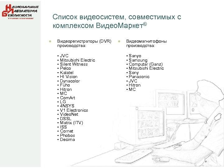 Список видеосистем, совместимых с комплексом Видео. Маркет® l Видеорегистраторы (DVR) производства: • JVC •
