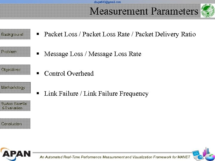 shupa 643@gmail. com Measurement Parameters Background § Packet Loss / Packet Loss Rate /