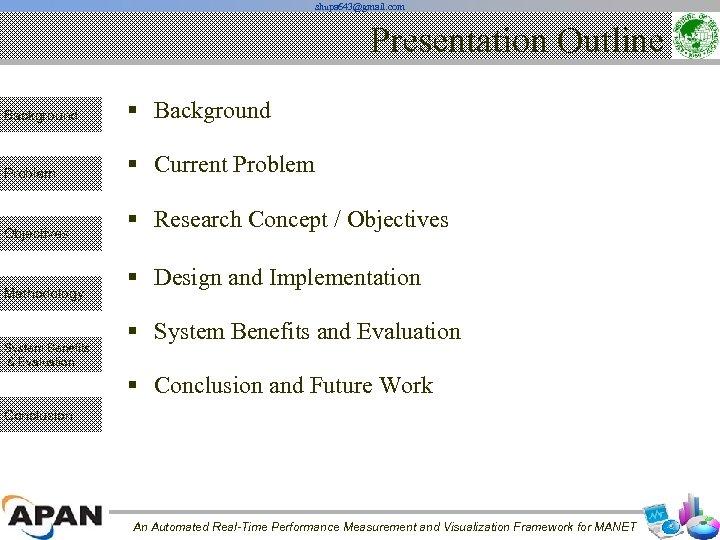 shupa 643@gmail. com Presentation Outline Background § Background Problem § Current Problem Objectives Methodology