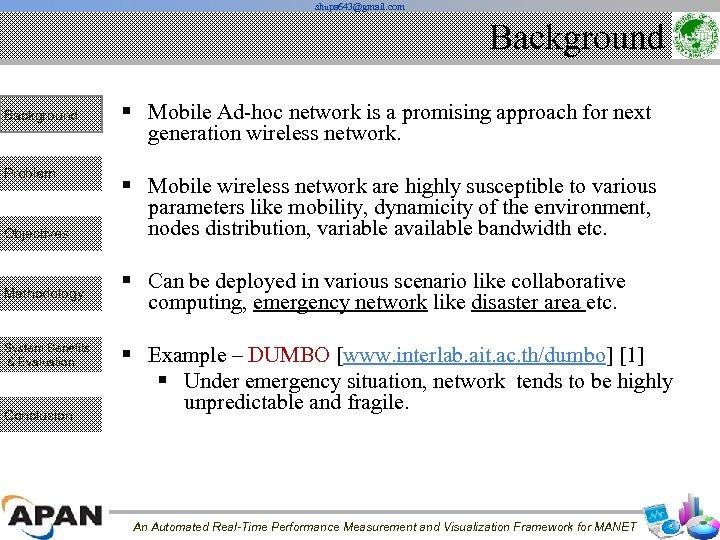 shupa 643@gmail. com Background Problem Objectives Methodology System Benefits & Evaluation Conclusion § Mobile