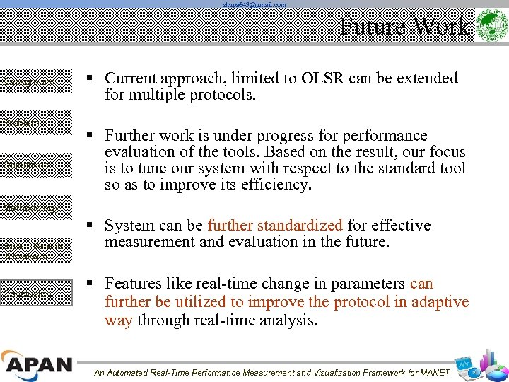 shupa 643@gmail. com Future Work Background Problem Objectives § Current approach, limited to OLSR