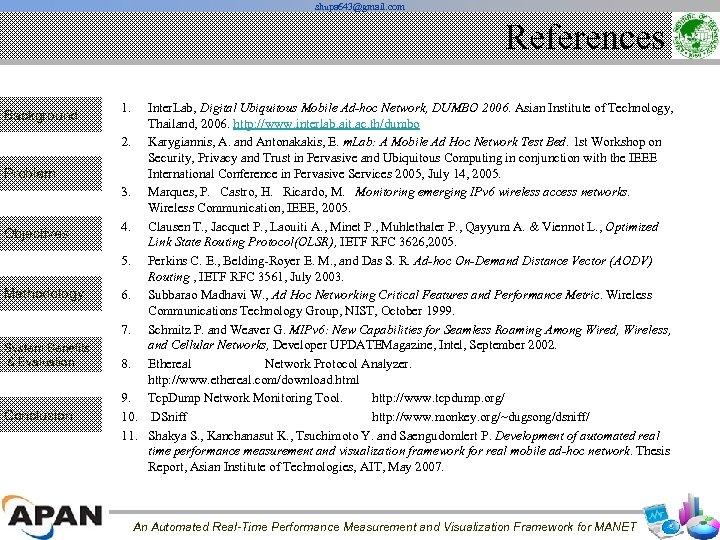 shupa 643@gmail. com References Background Problem Objectives Methodology System Benefits & Evaluation Conclusion 1.