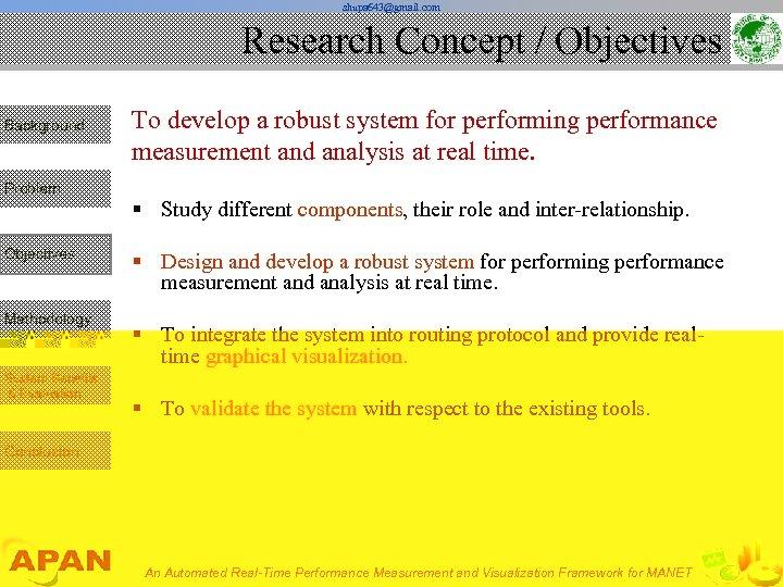 shupa 643@gmail. com Research Concept / Objectives Background Problem Objectives Methodology System Benefits &
