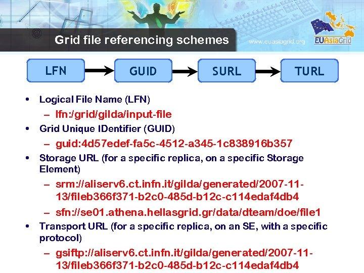 Grid file referencing schemes LFN • GUID SURL TURL Logical File Name (LFN) –