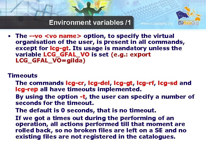 Environment variables /1 • The --vo <vo name> option, to specify the virtual organisation