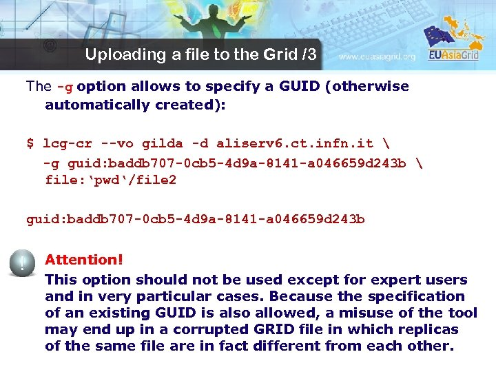 Uploading a file to the Grid /3 The -g option allows to specify a