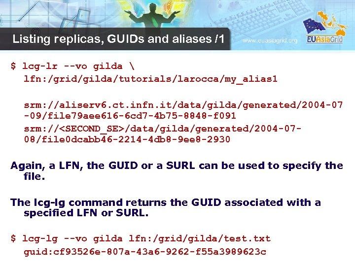 Listing replicas, GUIDs and aliases /1 $ lcg-lr --vo gilda  lfn: /grid/gilda/tutorials/larocca/my_alias 1