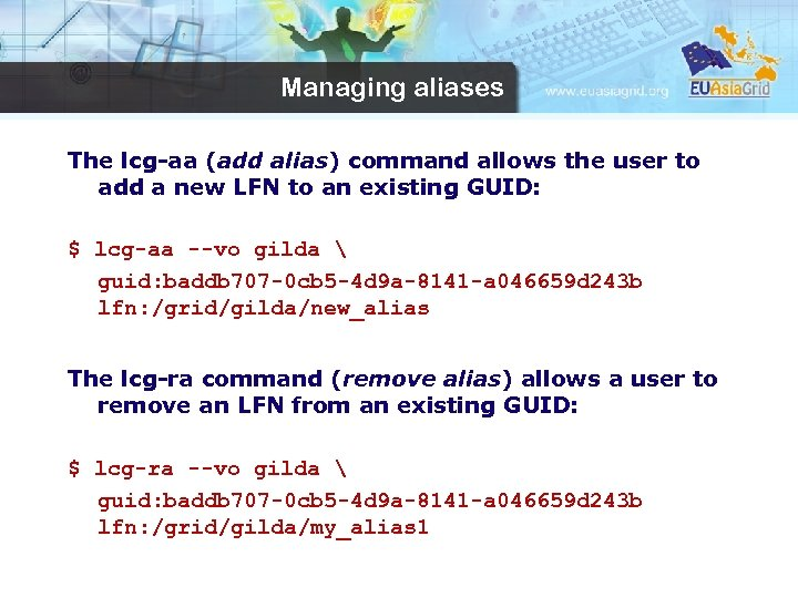 Managing aliases The lcg-aa (add alias) command allows the user to add a new