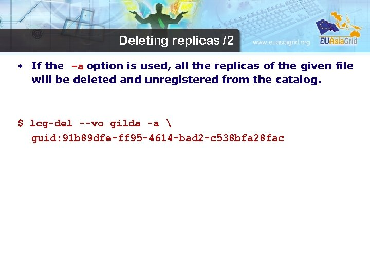 Deleting replicas /2 • If the –a option is used, all the replicas of