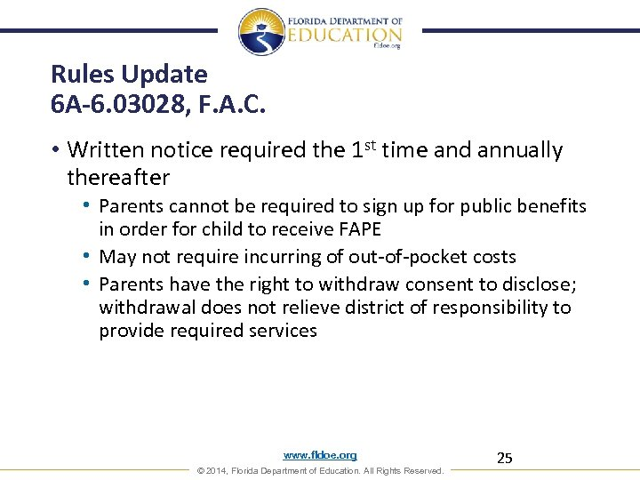 Rules Update 6 A-6. 03028, F. A. C. • Written notice required the 1