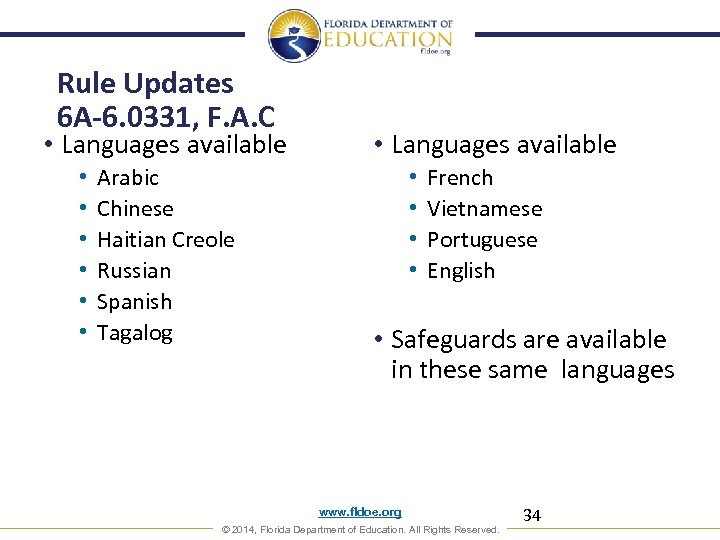Rule Updates 6 A-6. 0331, F. A. C • Languages available • • •