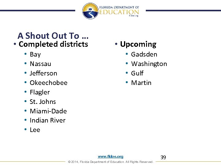 A Shout Out To … • Completed districts • • • Upcoming Bay Nassau