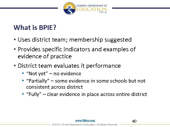 What is BPIE? • Uses district team; membership suggested • Provides specific indicators and
