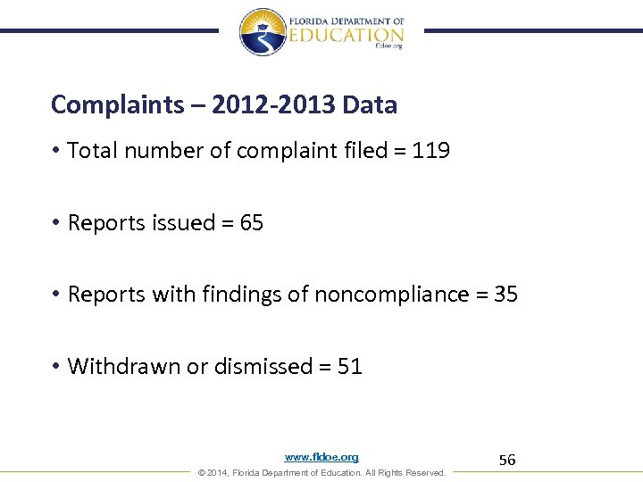 Complaints – 2012 -2013 Data • Total number of complaint filed = 119 •