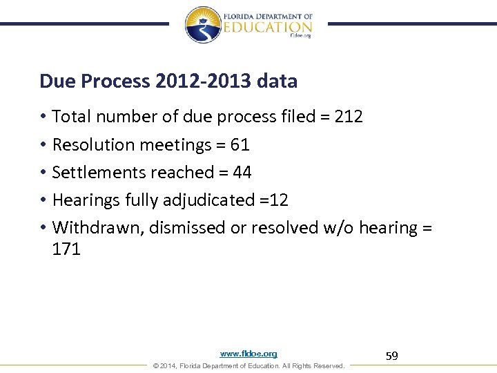 Due Process 2012 -2013 data • Total number of due process filed = 212