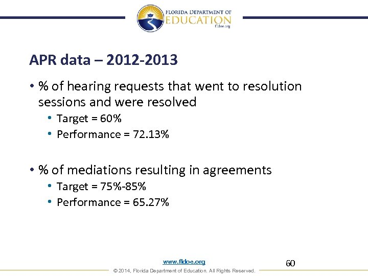 APR data – 2012 -2013 • % of hearing requests that went to resolution