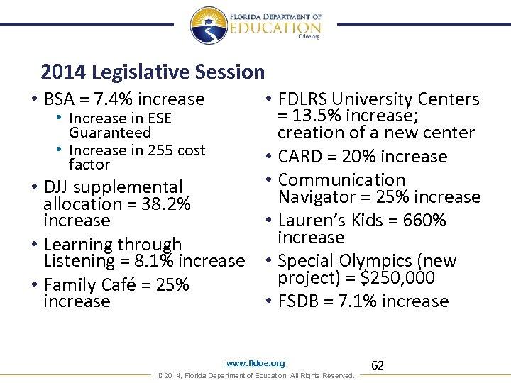 2014 Legislative Session • BSA = 7. 4% increase • FDLRS University Centers =