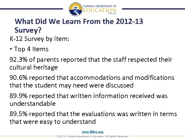 What Did We Learn From the 2012 -13 Survey? K-12 Survey by item: •