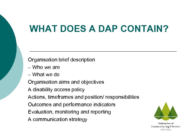 WHAT DOES A DAP CONTAIN? Organisation brief description – Who we are – What