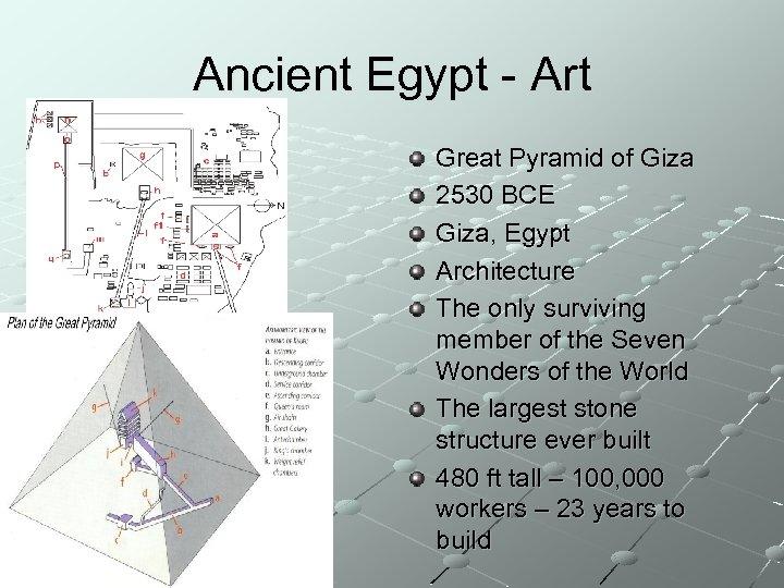 Ancient Egypt - Art Great Pyramid of Giza 2530 BCE Giza, Egypt Architecture The