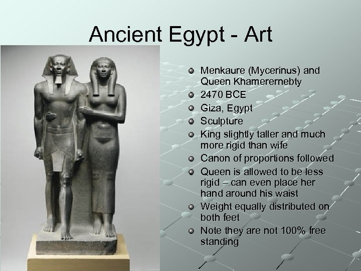 Ancient Egypt - Art Menkaure (Mycerinus) and Queen Khamerernebty 2470 BCE Giza, Egypt Sculpture