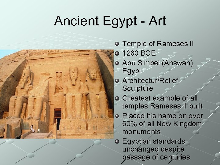 Ancient Egypt - Art Temple of Rameses II 1260 BCE Abu Simbel (Answan), Egypt