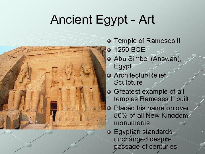 Ancient Egypt - Art Temple of Rameses II 1260 BCE Abu Simbel (Answan), Egypt