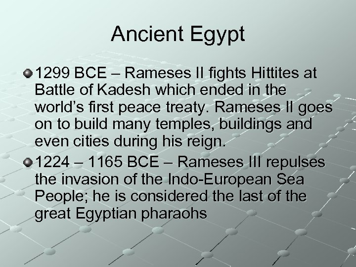 Ancient Egypt 1299 BCE – Rameses II fights Hittites at Battle of Kadesh which