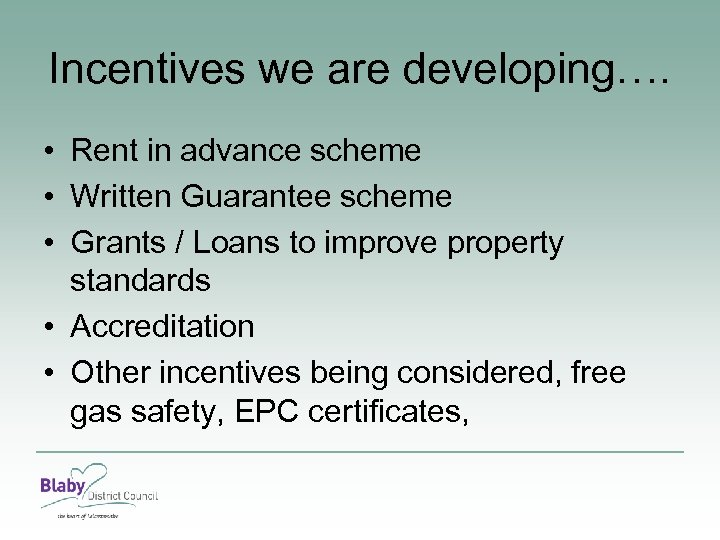 Incentives we are developing…. • Rent in advance scheme • Written Guarantee scheme •