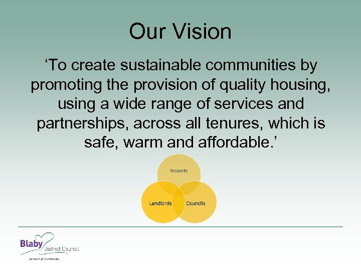 Our Vision 'To create sustainable communities by promoting the provision of quality housing, using