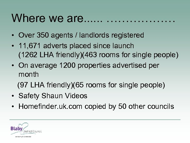 Where we are. . . ……………… • Over 350 agents / landlords registered •